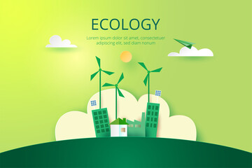 Paper art of Sustainability in green eco city, alternative energy and ecology conservation concept.Vector illustration. - fototapety na wymiar