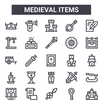 medieval items outline icon set. includes thin line icons such as helmet, gibbet, king, crossbow, key, fortress, castle, wand. can be used for report, presentation, diagram, web and mobile design