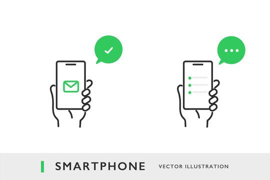 スマホを使ってコミュニケーションのやりとりをするイメージイラスト素材
