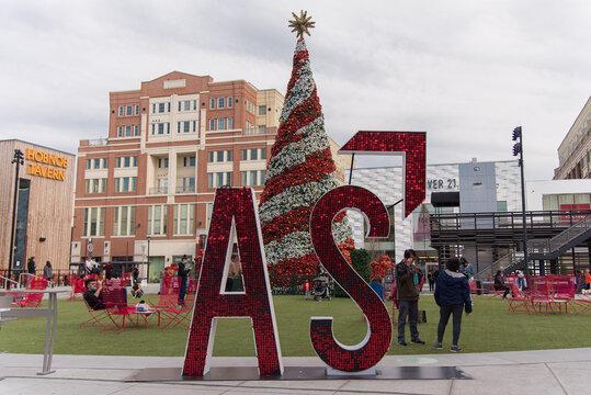 Atlantic Station during holidays. Atlanta, GA January 1, 2021.