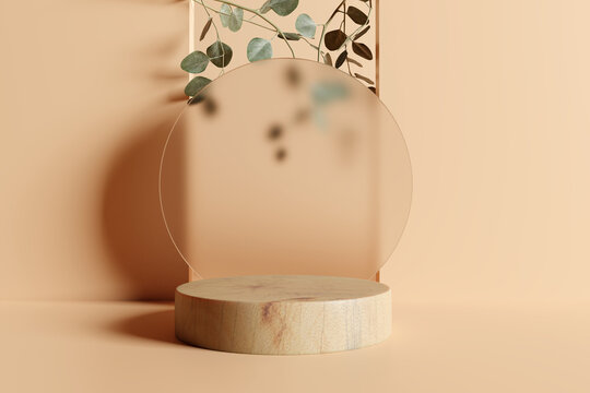 Product display podium with eucalyptus leaves on brown background. 3D rendering