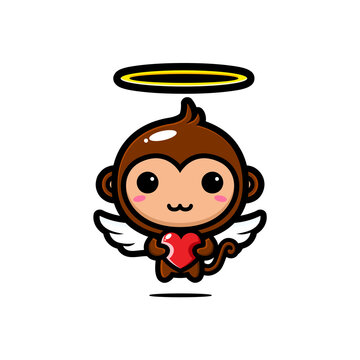 design the cute monkey character to be a cupid