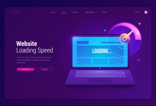 Website loading speed banner. Online test of download performance of web page. Vector landing page of internet connection optimization with illustration of laptop and speedometer on purple background
