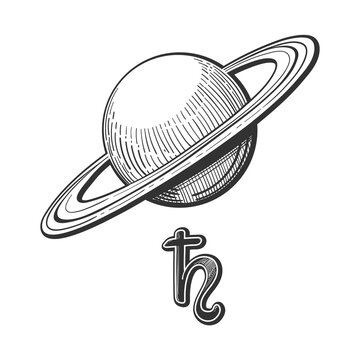 Planet Saturn with rings with astrological sign, linear hand drawing isolated on white background. Symbol for astrology, zodiac signs, natal chart.