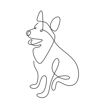 Hound dog hand drawing continuous line on white background. A cute dog is sitting on the ground single one line art minimalism style. Wildlife animals concept. Vector pet design illustration