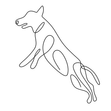 Hound dog one continuous line drawing on white background. Funny doggy is standing pose. The concept of wildlife, pets, veterinary. Hand drawn minimalism style vector illustration. Friendly pet icon