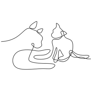 Continuous one line drawing of two dog minimalism style. Purebred hound dog mascot concept for pedigree friendly pet icon. The concept of wildlife, pets, veterinary. Vector illustration