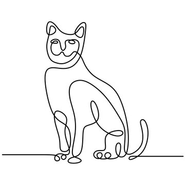 Minimalist cats in abstract hand drawn style. One line drawing of cute cat animals isolated on white background. Love pet concept. Vector illustration. Doodle animals icons minimalistic line art.