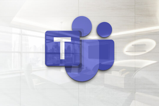 microsoft teams 1 on glossy realistic texture