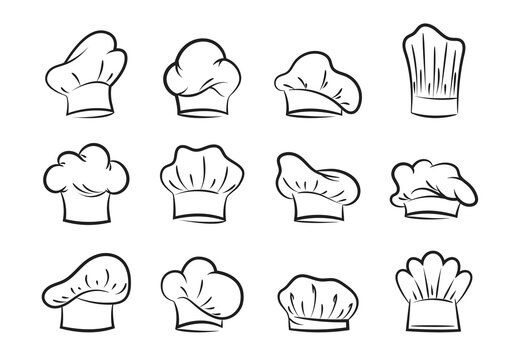 Chefs hats set. Contours of professional headgear for pastry chefs and bakers fashionable uniform design with curls and folds.