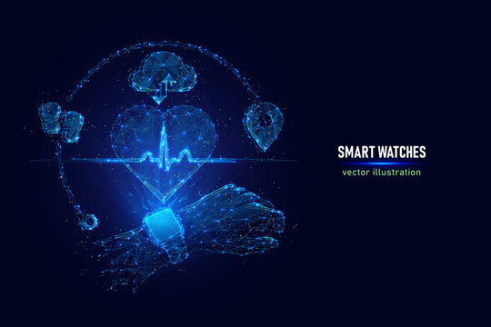 Vector illustration of smart watches. Digital wireframe of smart watches showing heart rate made of connected dots. Low poly illustration of heart rate monitoring hologram on blue background.