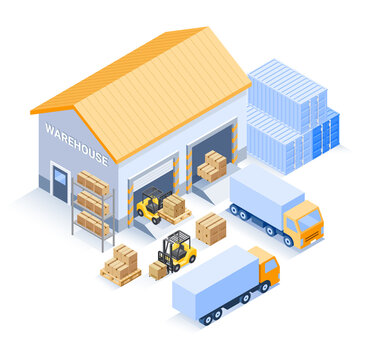 Warehouse industrial isometric