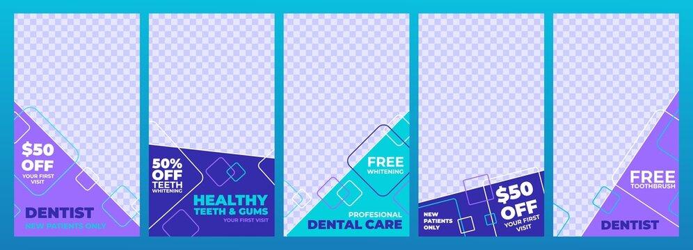 Banner layout social media post dental, set