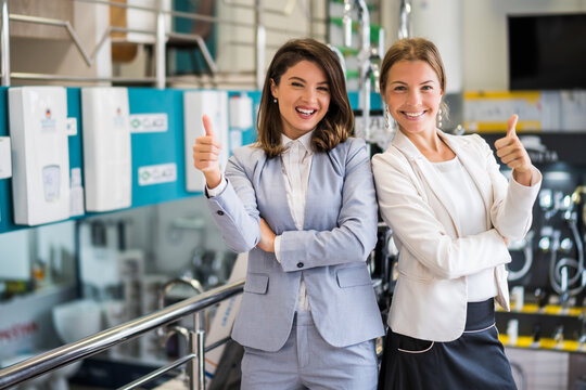 Two women owning small business bath store. They are partners in business. Female entrepreneur concept.