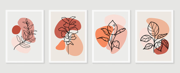 Estores personalizados con tu foto Botanical wall art vector set. Earth tone boho foliage line art drawing with  abstract shape.  Abstract Plant Art design for wall framed prints, canvas prints, poster, home decor, cover, wallpaper.
