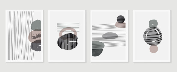 Fototapeta Abstract wall arts vector collection.  Earth tones Hand drawn organic shape art design for wall framed prints, canvas prints, poster, home decor, cover, wallpaper.