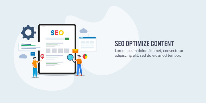 Content optimization for better search engine ranking on web. Seo optimized content driving traffic to website, marketing team working on seo solution.