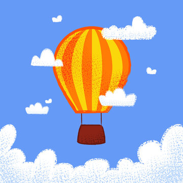 hot air balloon in the sky above the clouds. Children's card in flat design. Vector illustration