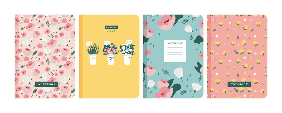 Vector illustartion templates cover pages for notebooks, planners, brochures, books, catalogs. Flowers wallpapers.