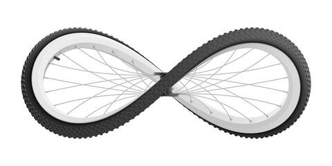 Fototapeta Sport bicycle wheel curved like Infinity sign. Realistic vector illustration. obraz