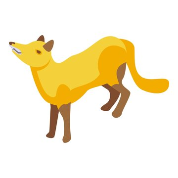 Pensive fox icon. Isometric of pensive fox vector icon for web design isolated on white background