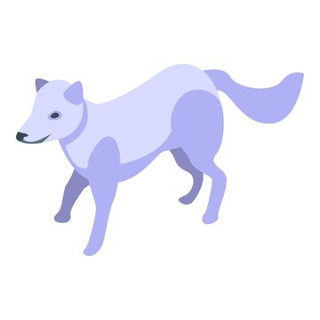 White fox icon. Isometric of white fox vector icon for web design isolated on white background