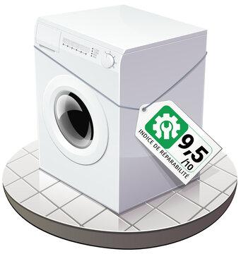 Machine à laver avec une étiquette indiquant un excellent indice de réparabilité vert (détouré)