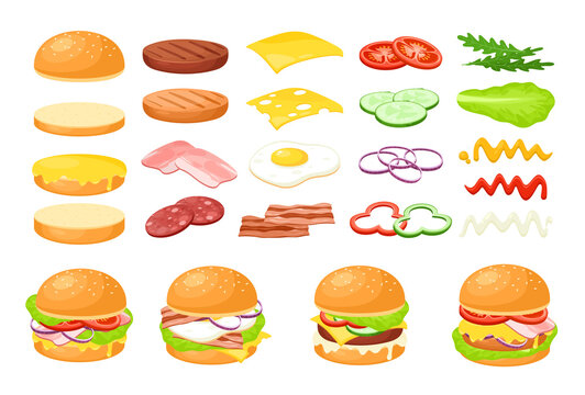 Burger fresh food ingredient set, cartoon fastfood cafe hamburger maker collection