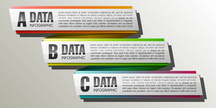 Three frame and text areas in the elevator for a business presentation (info graphics)
