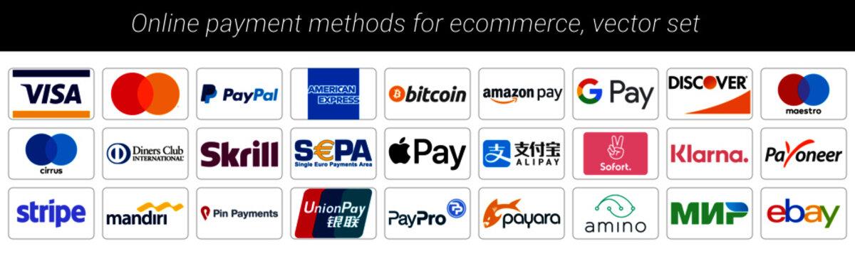 Online payment icon set, mastercard, paypal, american espress, bitcoin, amazon pay, google pay, discover, diners, skrill, sepa, apple pay, alipay, sofort, klarna, payomeer, mandiri, ebay, payara