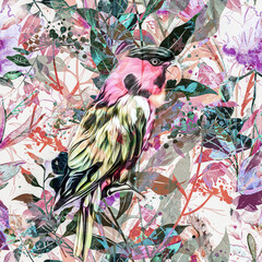 pattern with flowers and bird