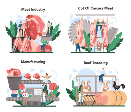 Meat production industry concept set. Butcher or meatman factory