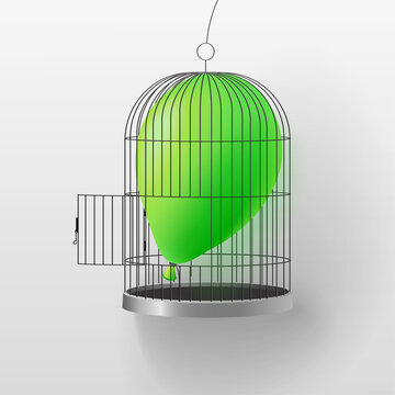 Air balloon in a birdcage with an open flap. Vector illustration meaning to let go, understand, grow wiser, figure out, find a way out, generate an idea.