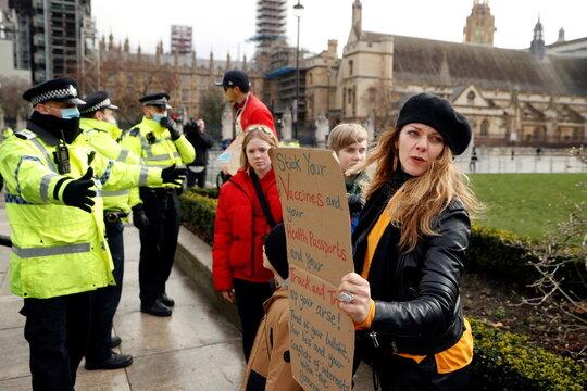 Anti-lockdown protest, amid the coronavirus disease (COVID-19) in London