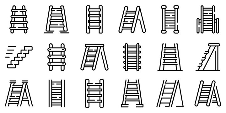 Step ladder icons set. Outline set of step ladder vector icons for web design isolated on white background