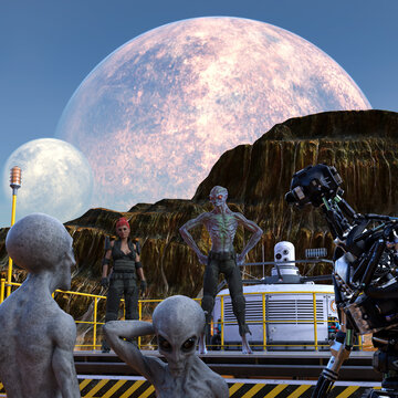 Illustration of extraterrestrials a woman and a robot talking from a mining platform talking to other aliens on a world with moons rising above mountains.
