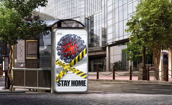 Outdoor showcase billboard stand, coronavirus covid-19 light display. 3D frame design template on city street background. Billboard poster Stay Home to prevent corona virus covid 19 infection campaign
