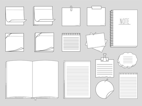 Collection of papers for memo - notepads, stickers, notebooks isolated on white background. Vector illustration