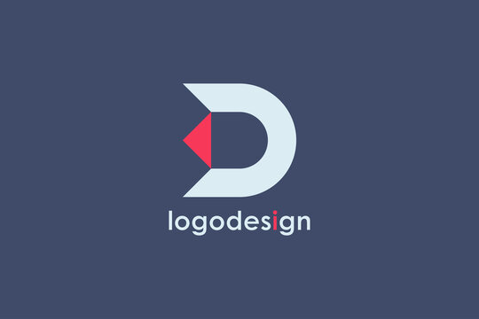 Abstract Initial Letter D Logo. White Geometric Shape with Red Arrow isolated on Blue Background. Usable for Business and Branding Logos. Flat Vector Logo Design Template Element.