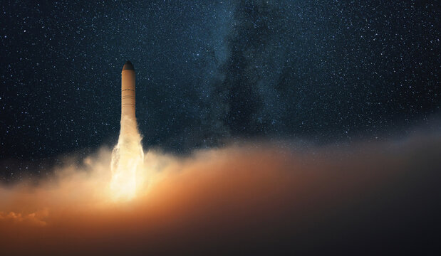 Successful rocket take off into the starry sky with the milky way. Space mission start. spacecraft launches and lift off