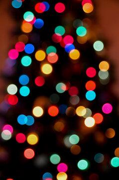 Christmas Bokeh Lights Rainbow Colored