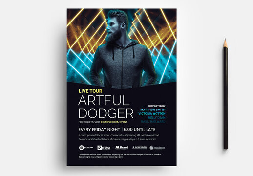 DJ Party Flyer for Nightclub Events with Blue Orange Neon Background