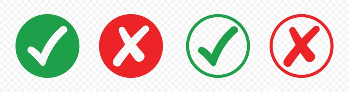 checkmark and X mark icon, buttons isolated on a transparent background. for apps and websites.