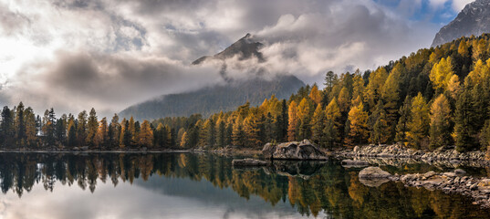 Panoramic shot of mountains and forests reflected in the lake