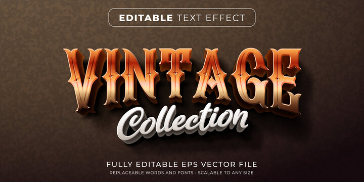 Editable text effect in classic vintage style