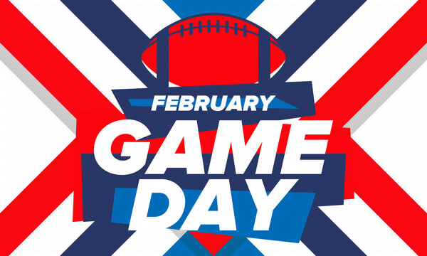 Game Day. American football playoff. Super Party in United States. Final game of regular season. Professional team championship. Ball for american football. Sport poster. Vector illustration