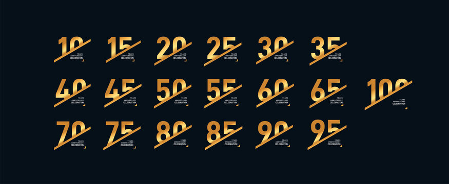 Set of anniversary logotype style with handwriting 10, 20, 30, 40, 50, 60 golden color for celebration event, wedding, greeting card, and invitation. Vector illustration. Isolated on black background.