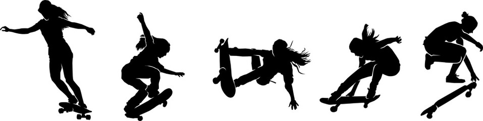 skateboard girl silhouette