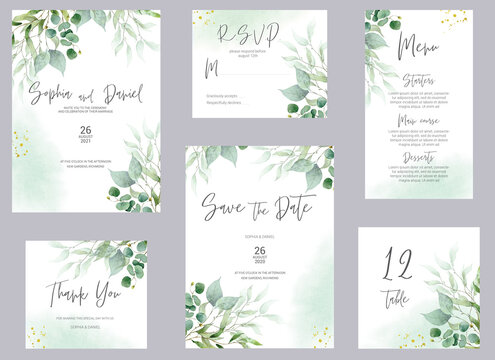 Watercolor wedding invitation cards. Greenery poster, invite. Elegant wedding invitation with watercolor green and gold floral elements.