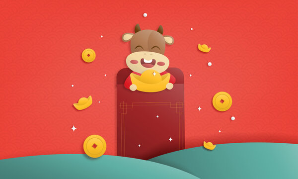 2021 Happy Chinese new year paper cutting greeting card, year of the ox design cute cows holding gold ingots in envelope on red background. Animal holidays cartoon character.